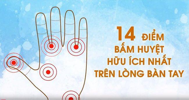 14 điểm bấm huyệt bàn tay